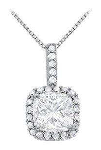 LoveBrightJewelry April Birthstone Cubic Zirconia Halo Pendant in 925 Sterling Silver