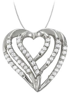 LoveBrightJewelry April birthstone Cubic Zirconia Heart Pendant in Sterling Silver 0.25 CT TGW
