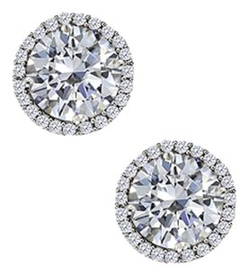 LoveBrightJewelry April Birthstone Cubic Zirconia Round Earrings in Sterling Silver