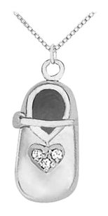 LoveBrightJewelry April Birthstone Cubic Zirconia Shoe Pendant in 925 Sterling Silver 0.05 CT TGW