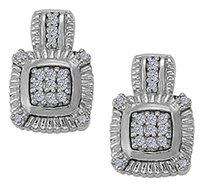 LoveBrightJewelry April Birthstone Cubic Zirconia Square Earrings in Sterling Silver 0.25 CT TGW