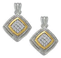 LoveBrightJewelry April Birthstone Cubic Zirconia Square Earrings in Two Tone Silver Gold Vermeil 0.75 CT TGW