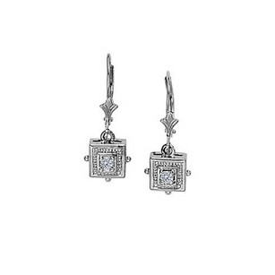LoveBrightJewelry April Birthstone Cubic Zirconia Triangular Earrings In 14k White Gold