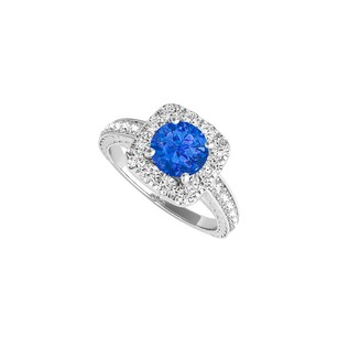 LoveBrightJewelry April Birthstone CZ and Sapphire Halo Ring 1.50 CT TGW
