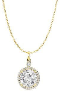 LoveBrightJewelry April Birthstone CZ Halo Pendant Yellow Gold Vermeil