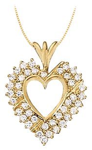 LoveBrightJewelry April birthstone CZ Heart Pendant Sterling Silver with Yellow Gold Vermeil 1.00 CT TGW