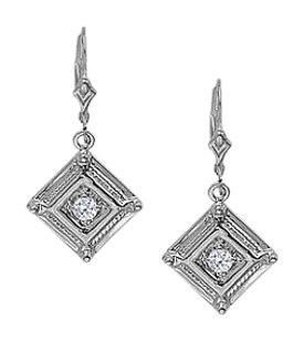 LoveBrightJewelry April Birthstone Diamond Square Earrings in 14K White Gold