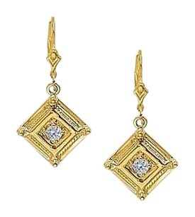 LoveBrightJewelry April Birthstone Diamond Square Earrings in 14K Yellow Gold