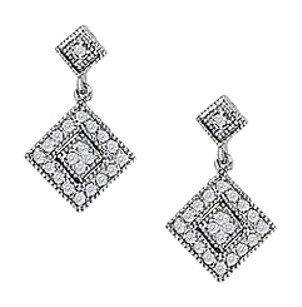 LoveBrightJewelry April Birthstone Squarish Earrings in 14K White Gold0.50 CT TDW