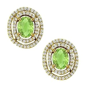 LoveBrightJewelry August Birthstone Peridot Oval Halo Earrings in 14K Yellow Gold