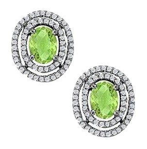 LoveBrightJewelry August Birthstone Peridot Oval Halo Earrings with CZ in 14K White Gold