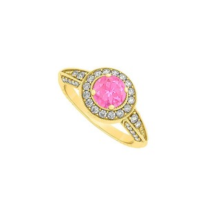 LoveBrightJewelry Awesome Pink Sapphire And Cz Engagement Ring 1.00 Tgw