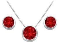 LoveBrightJewelry Bangkok Ruby Pendant and Stud Earrings Set in Sterling Silver 2 ct