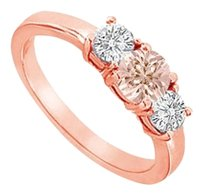 LoveBrightJewelry Beautiful Morganite and CZ Three Stone Engagement Ring in 14K Rose Gold Vermeil over 925 Silver