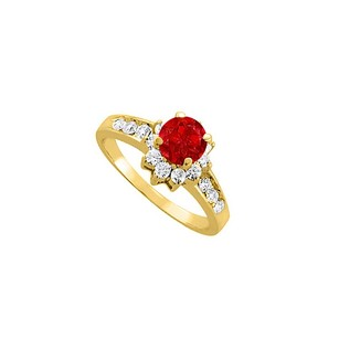 LoveBrightJewelry Beautiful Ruby And Cz Halo Engagement Ring 2.00 Tgw