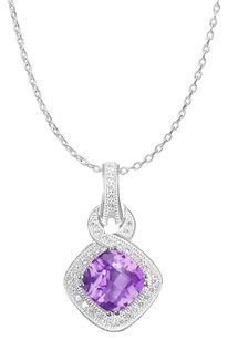 LoveBrightJewelry Beautiful Square Amethyst and Round White Topaz Pendant