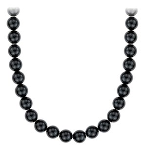 LoveBrightJewelry Black Onyx 16 Inch Necklace in 14K White Gold 10 MM
