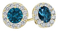 LoveBrightJewelry Blue and White Diamond Halo Stud Earrings 1.00.ct.tw