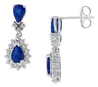 LoveBrightJewelry Blue Created Sapphire and Cubic Zirconia Earrings 925 Sterling Silver 2.50 CT TGW