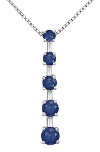 LoveBrightJewelry Blue Created Sapphire Journey Pendant 925 Sterling Silver 1.00 CT TGW