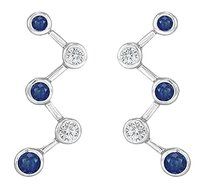 LoveBrightJewelry Blue Sapphire and Diamond Earrings 14K White Gold 1.00 CT TGW