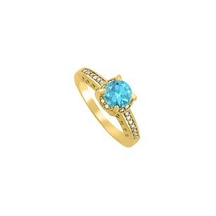 LoveBrightJewelry Blue Topaz And Cz Ring In 18k Yellow Gold Vermeil