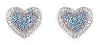 LoveBrightJewelry Blue Topaz and Diamond Heart Earrings 14K White Gold 1.50 CT TGW