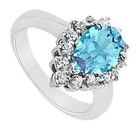 LoveBrightJewelry Blue Topaz and Diamond Ring 14K White Gold 1.50 CT TGW