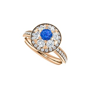 LoveBrightJewelry Bold Prong Set Cz Sapphire Halo Ring Rose Gold Vermeil