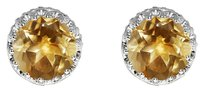 LoveBrightJewelry Bold Sunny Citrine Round 925 Silver Earrings Push Back
