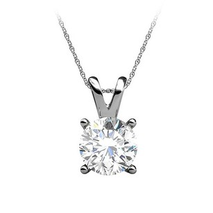 LoveBrightJewelry Brilliant Cut Diamond 14k White Gold Pendant Free Chain
