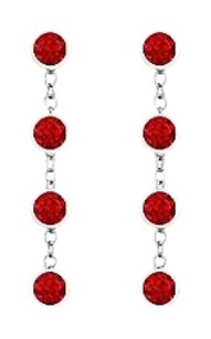 LoveBrightJewelry By The Yard Created Ruby Earrings with Designer Style Chains in 925 Sterling Silver One Carat TG