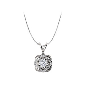 LoveBrightJewelry Charming CZ Round Pendant with Free 18inch Long Chain