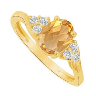 LoveBrightJewelry Chic Citrine and CZ Oval Ring 18K Yellow Gold Vermeil
