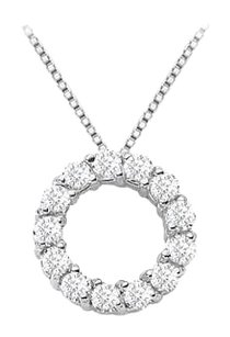 LoveBrightJewelry Circle of Love Cubic Zirconia Pendant Necklace in Sterling Silver with 1 Carat TGW