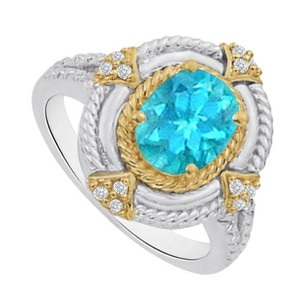 LoveBrightJewelry Classical Oval Blue Topaz and CZ Two Tone Ring Silver