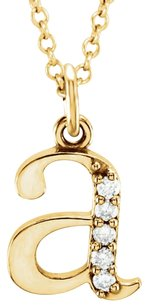 LoveBrightJewelry Conflict Free Diamond A Initial Pendant in 14K Yellow Gold
