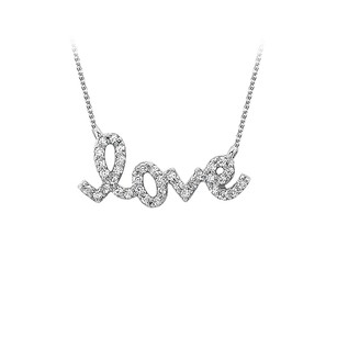 LoveBrightJewelry Conflict Free Diamond Love Pendant in 14K White Gold
