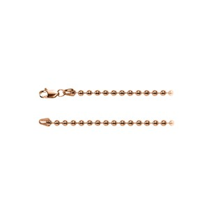 LoveBrightJewelry Cool 3.00mm Bead Silver Chain in 14K Rose Gold Vermeil