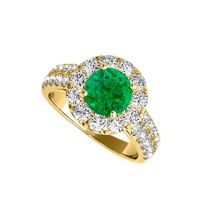 LoveBrightJewelry Cool Emerald And Cz Halo Engagement Ring 2.00 Tgw