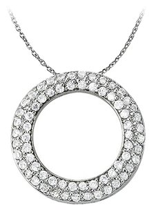 LoveBrightJewelry Cool Gift Cubic Zirconia Double Circle Pendant in Sterling Silver with Nice Free 16 Inch Chain