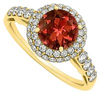 LoveBrightJewelry Coolest Jewelry Gift Garnet and CZ Ring 1.50 TGW