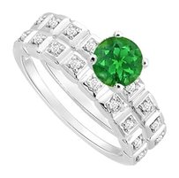 LoveBrightJewelry Created Emerald and Cubic Zirconia Engagement Ring with Wedding Band Set 925 Sterling Silver