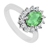 LoveBrightJewelry Created Emerald and Cubic Zirconia Ring 925 Sterling Silver 1.50 CT TGW