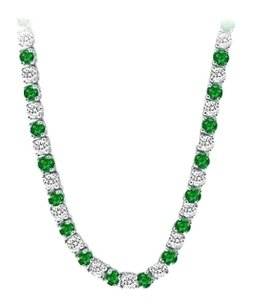 LoveBrightJewelry Created Emerald CZ Tennis Necklace in Sterling Silver 16.00.ct.tw