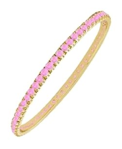 LoveBrightJewelry Created Pink Sapphire Eternity Bangle 14K Yellow Gold 2.00 CT TGW