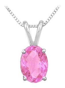 LoveBrightJewelry Created Pink Sapphire Solitaire Pendant 925 Sterling Silver 1.00 CT TGW
