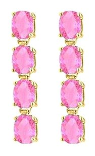 LoveBrightJewelry Created Pink Topaz Drop Earrings Oval Cut Set inSterling Silver 18K Yellow Vermeil 5 Carat TGW