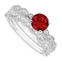 LoveBrightJewelry Created Ruby and Cubic Zirconia Engagement Ring with Wedding Band Set 925 Sterling Silver 0.50 Carat