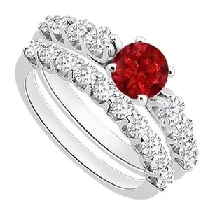LoveBrightJewelry Created Ruby Engagement Ring with Cubic Zirconia Wedding Set in 925 Sterling Silver 1.75 CT TGW